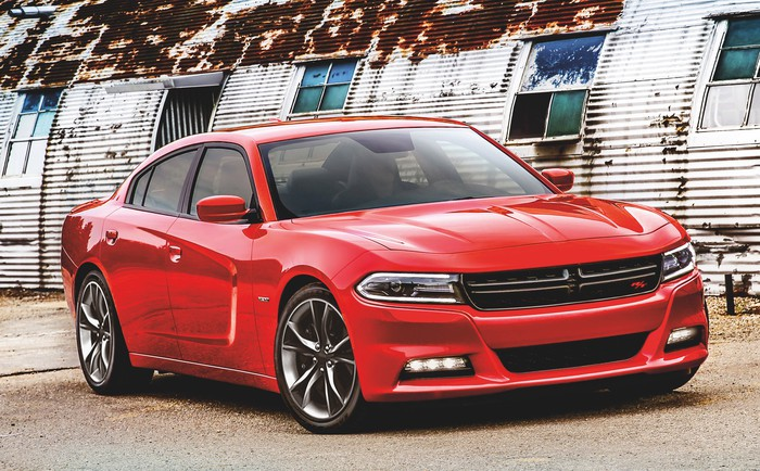 A red Dodge Charger R/T sedan