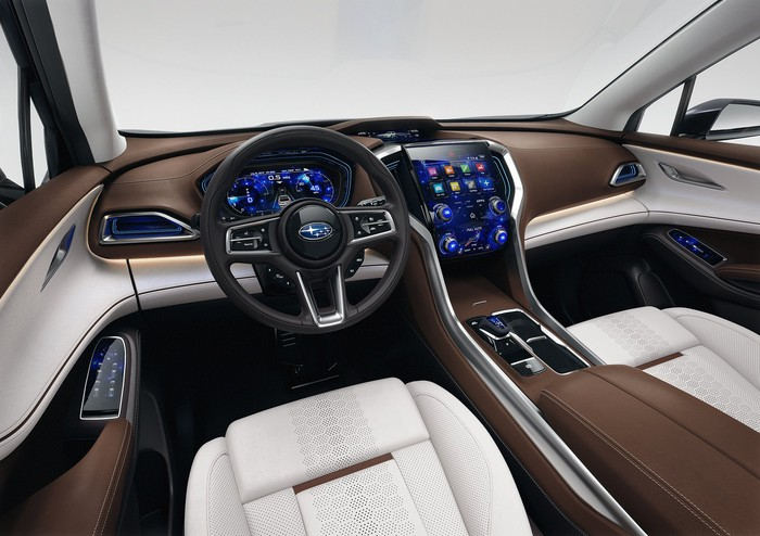 The front seats and dashboard of the Subaru Ascent SUV Concept
