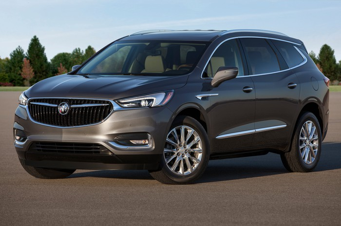 The new Enclave, a big crossover SUV, in dark bronze