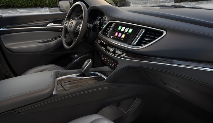 The front seat and dash of the new Enclave