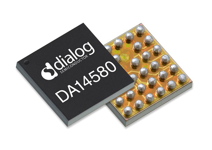 A Dialog Semiconductor chip, both front and back.