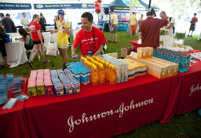 Johnson & Johnson products at a triathlon.