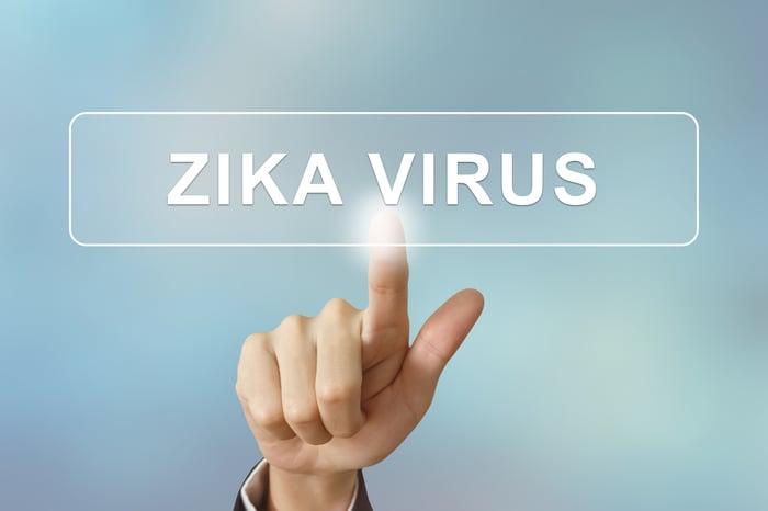 Pointing to Zika virus on screen