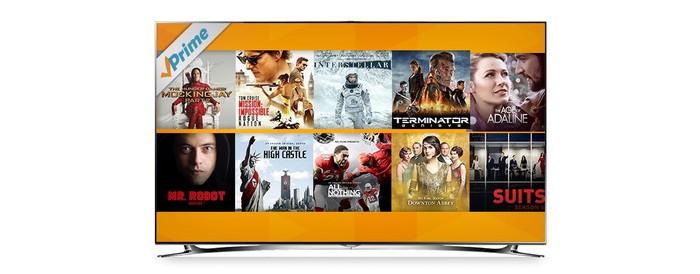 A selection of Prime Video films and series on a TV.