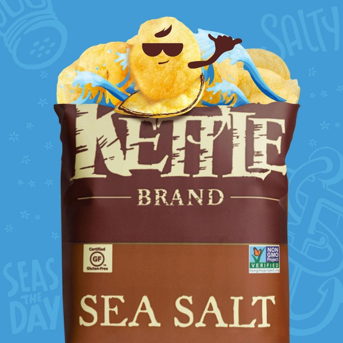 A bag of Kettle Chips with animated potatoes popping out.