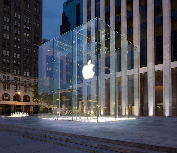 An outside view of the Apple Store on Fifth Avenue in New York City.