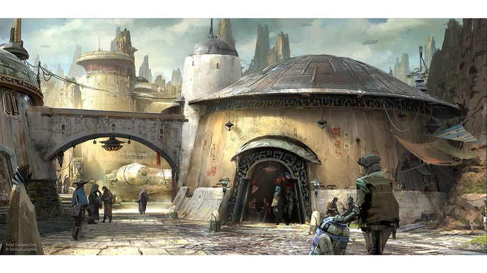 Concept art of a cityscape in Star Wars Land