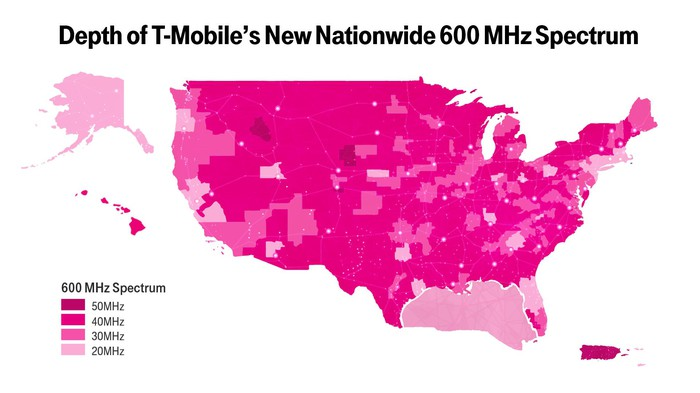 Map showing depth of T-Mobile's 600 MHz holdings