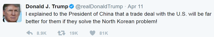 An image of Trump telling China he'll be easier on trade talks if they play ball on North Korea.
