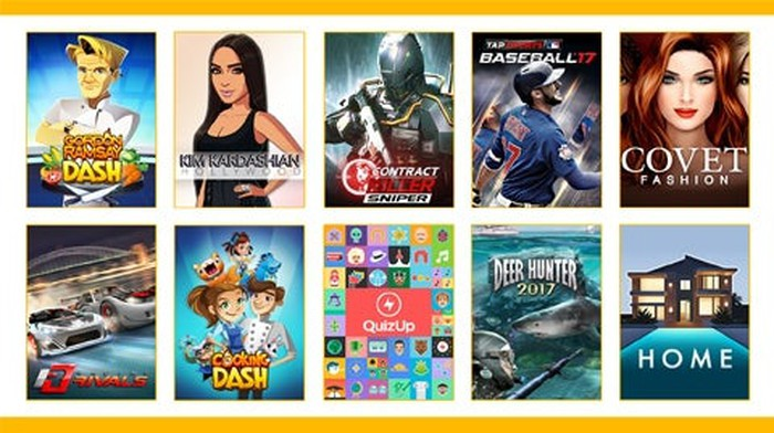 A collection of Glu Mobile's titles.