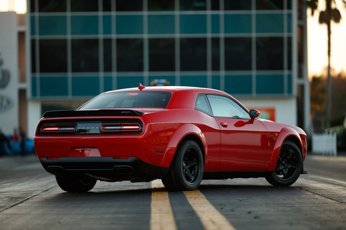 The Dodge Challenger SRT Demon, a red coupe.