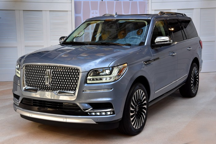 A 2018 Lincoln Navigator on Lincoln's stand at the New York International Auto Show.