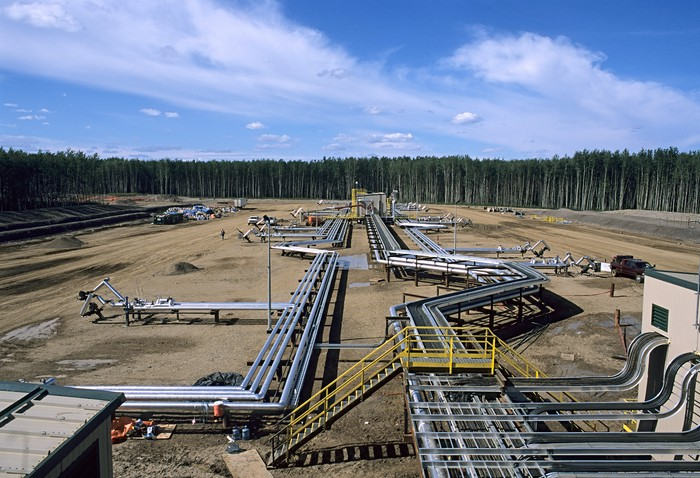 An oil sands production field in Canada.