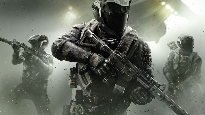 """Call of Duty Infinite Warfare"" graphic of soldiers in uniform carrying weapons."