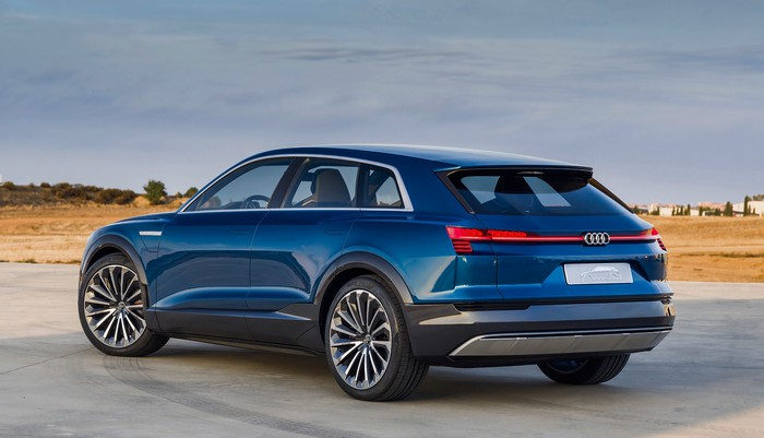 The Audi e-tron quattro concept, a blue electric SUV