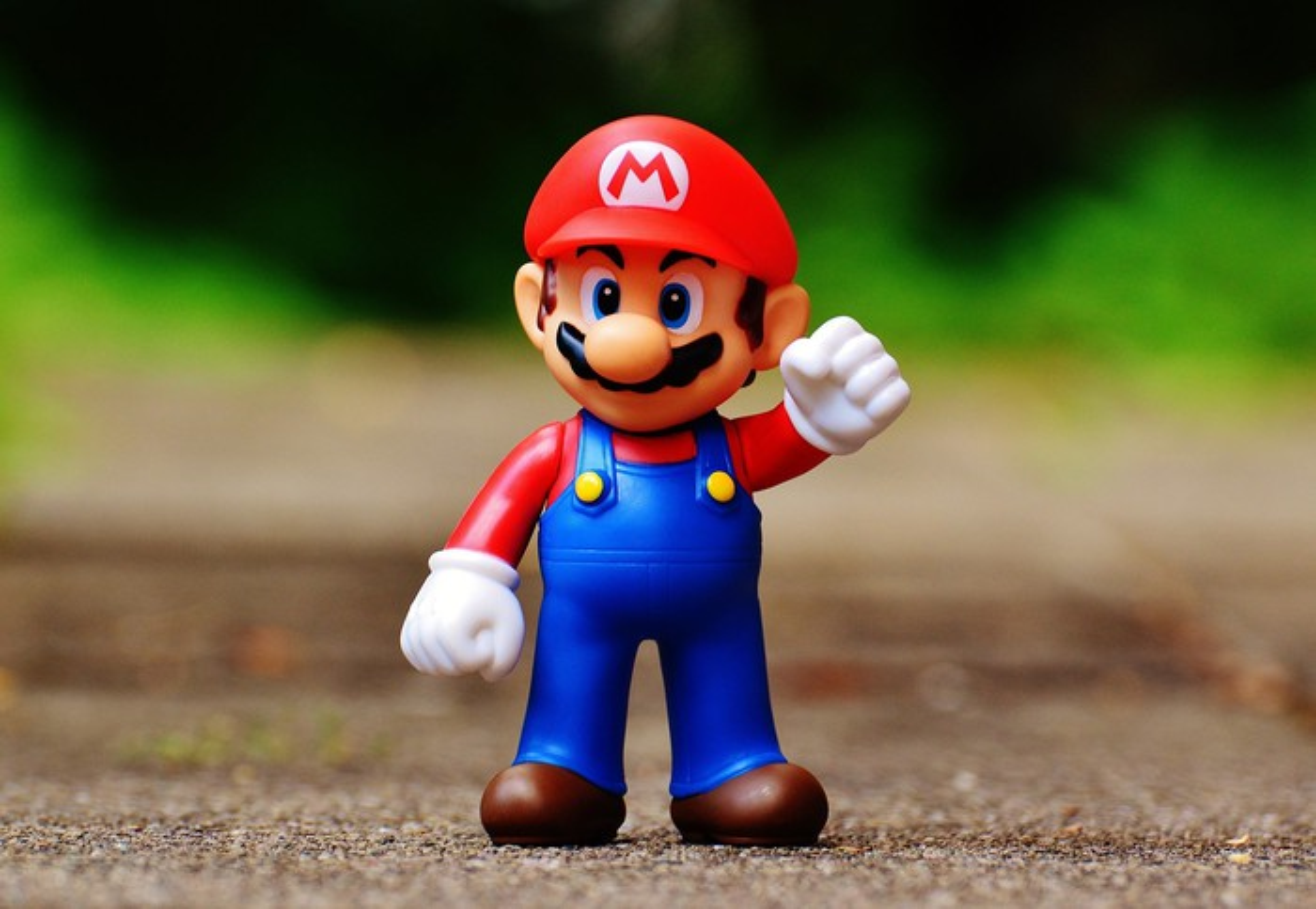 Toy figure of Nintendo's Mario character.