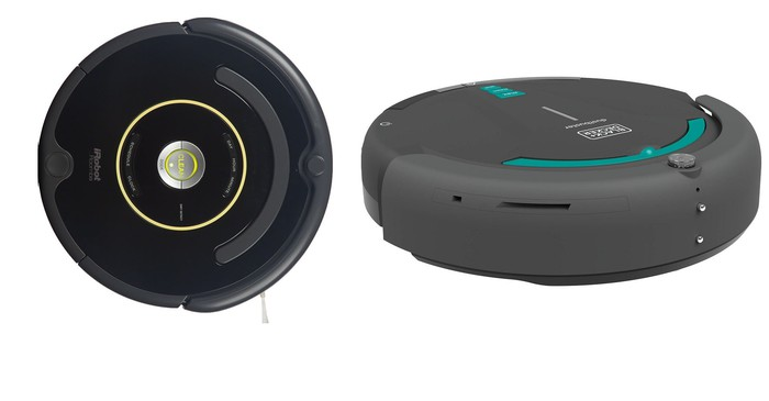 Side-by-side comparison of iRobot and Black & Decker robotic vacuums