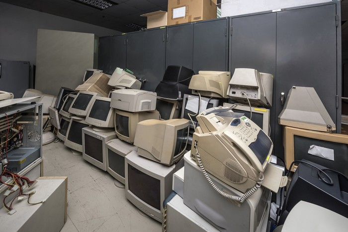 A room full of very old desktop computers