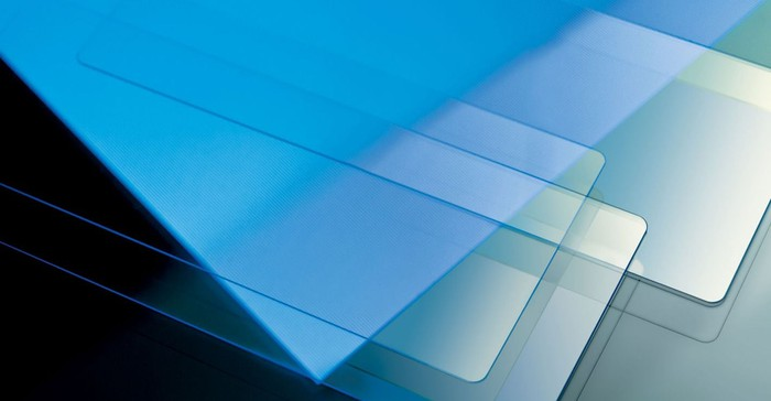 Panes of various types of Corning glass.