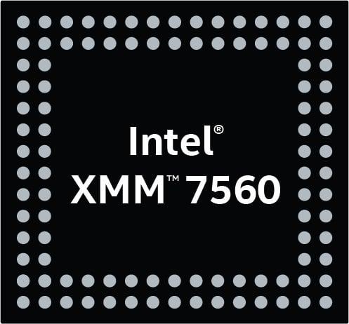 A logo depicting Intel's XMM 7560 modem.