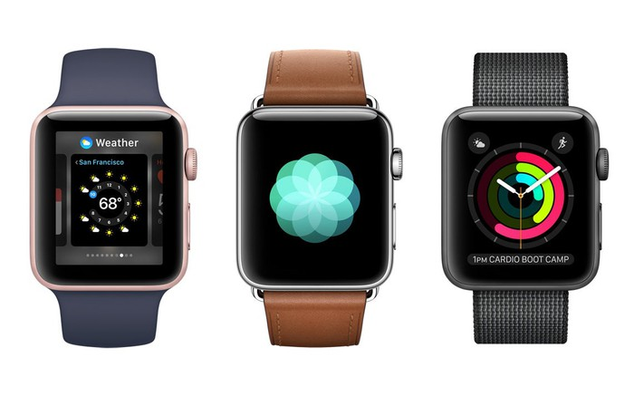 Three versions of the Apple Watch