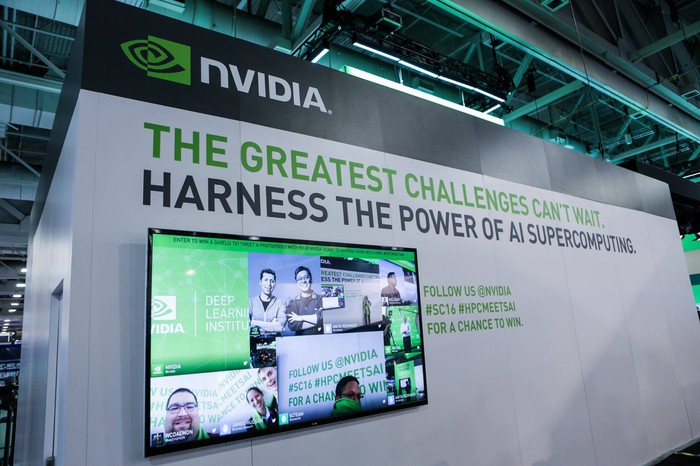 An NVIDIA conference display that shows the company's different facets of artificial intelligence work.