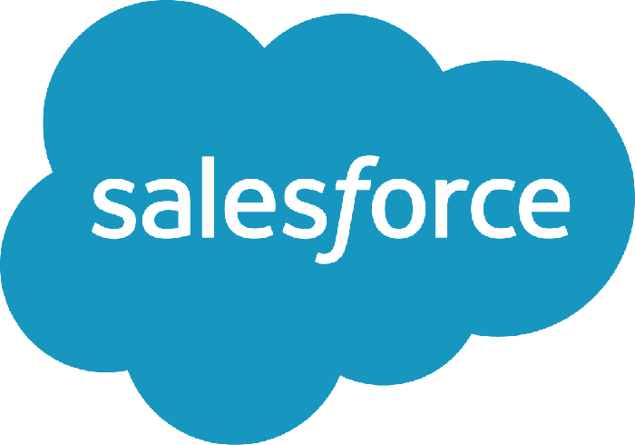The salesforce logo which is a blue cloud with the company name in the middle.