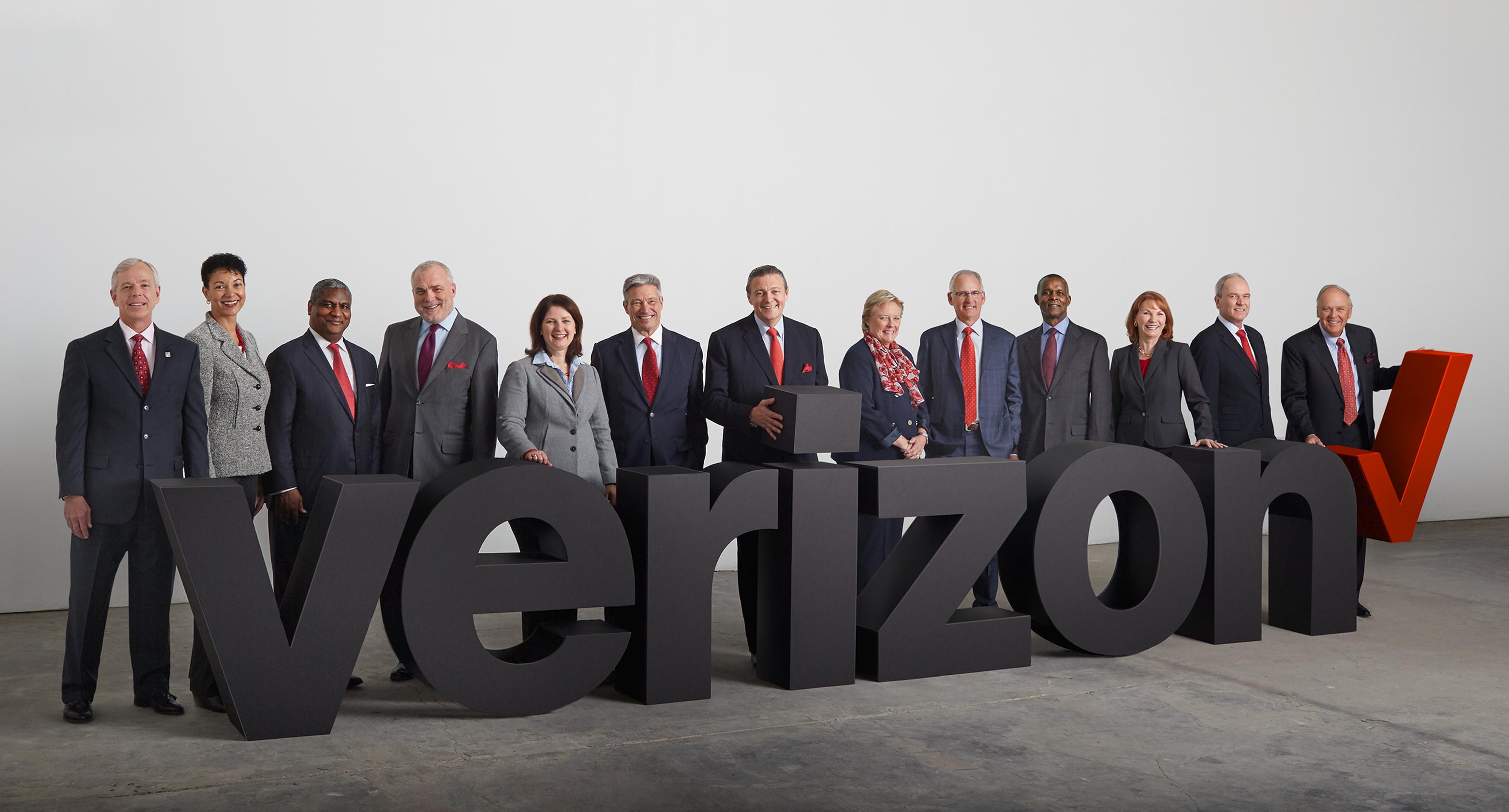 Verizon board of directors standing behind Verizon logo