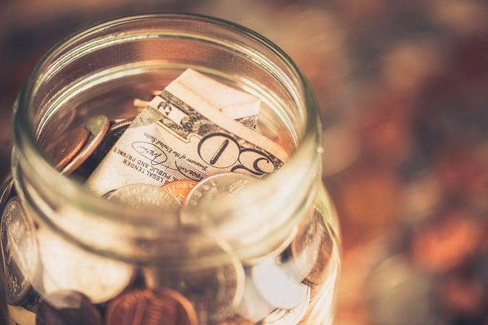 A $50 bill in a change jar.