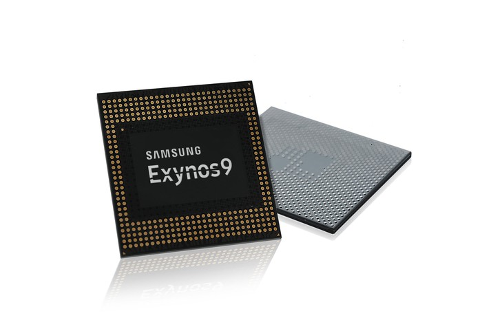 Samsung's Exynos chip in both front and back-facing poses.