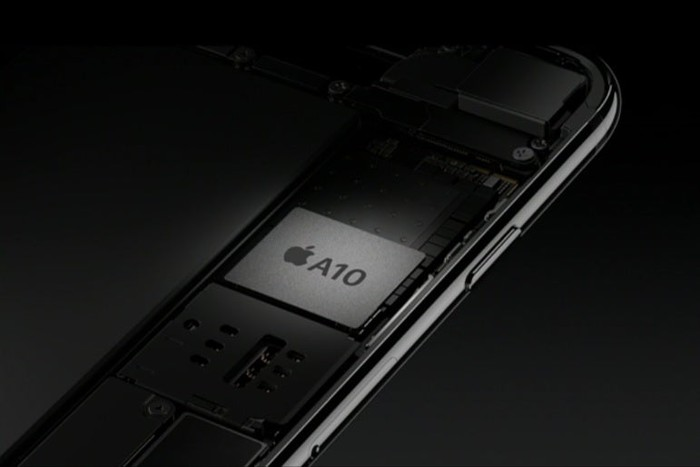 A rendering of Apple's A10 chip mounted on the logic board of Apple's iPhone 7.