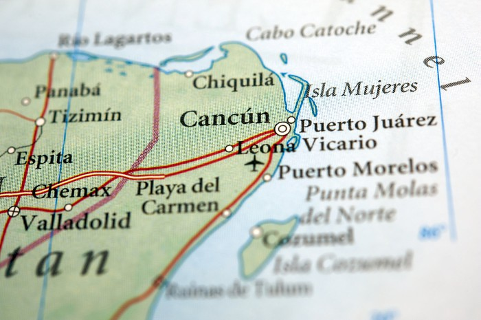 Close-up of Cancun on a map.