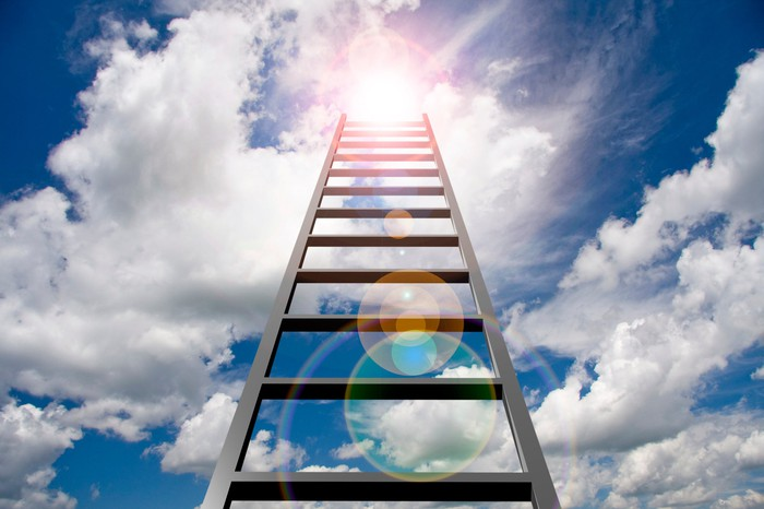 Ladder pointing toward the sky.