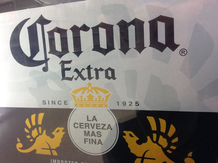 A case of Corona beer