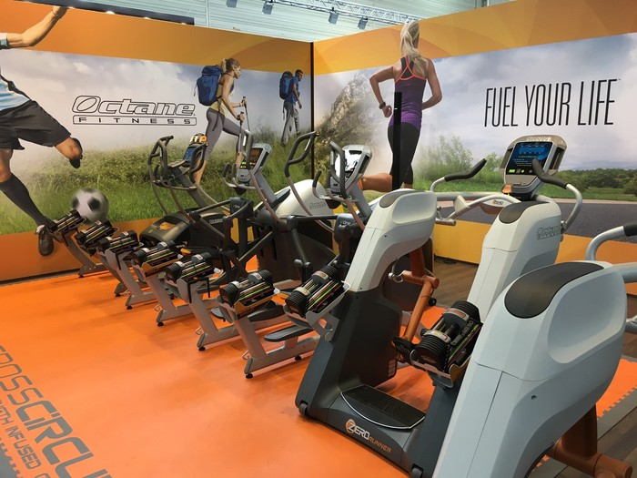 A row of exercise bikes