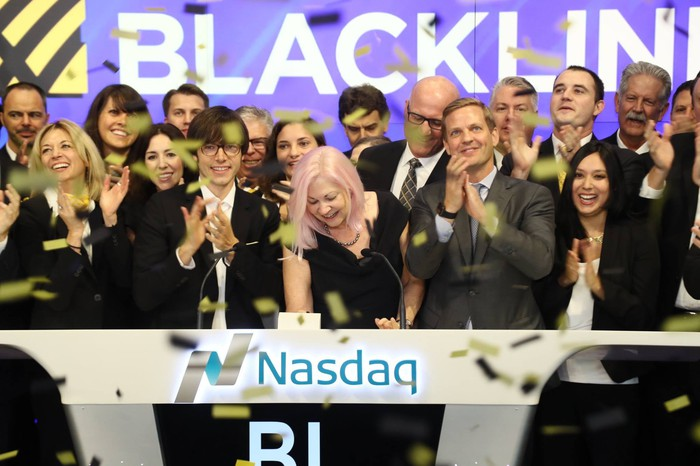CEO of BlackLine rings the Nasdaq stock market opening bell in celebration of its IPO.