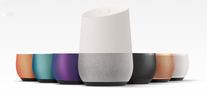 Google Home Speaker with multiple base color options.