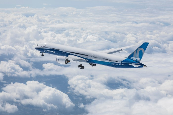 A Boeing 787 Dreamliner above clouds
