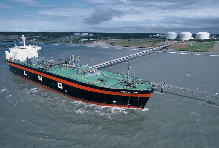A natural gas tanker ship docked at a fueling station