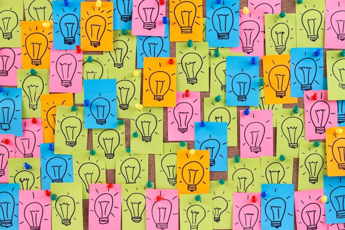 Post-It Notes with pictures of light bulbs drawn on them.