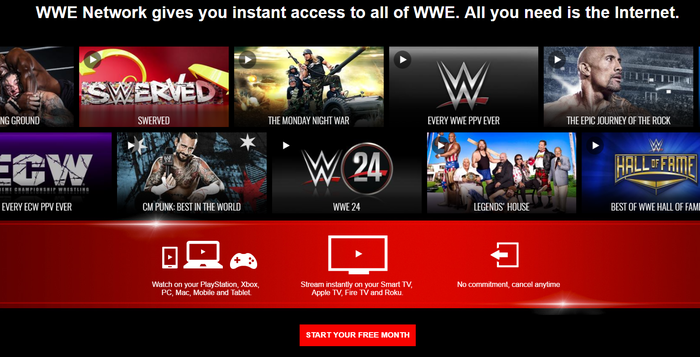 WWE Network home screen.