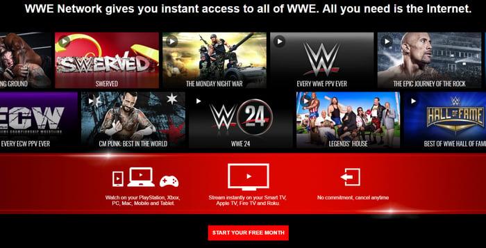 WWE Network home screen.