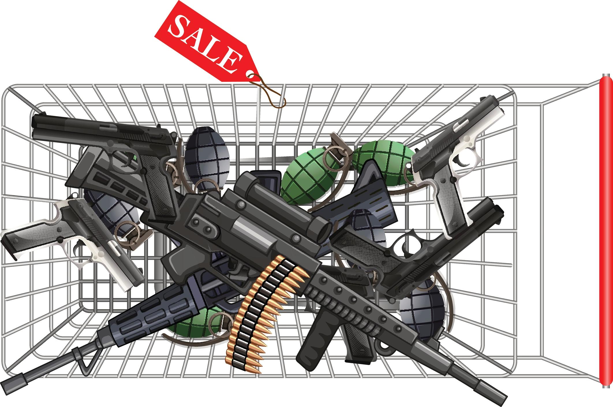 Overhead view of a shopping car full of guns.