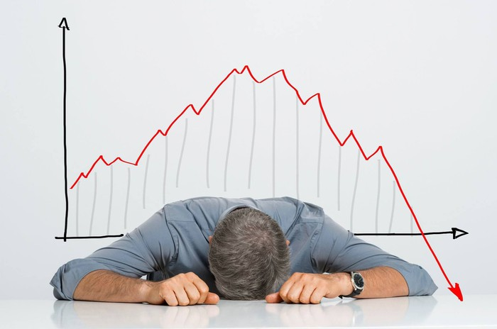 A frustrated investor in front of a stock chart with declining returns.