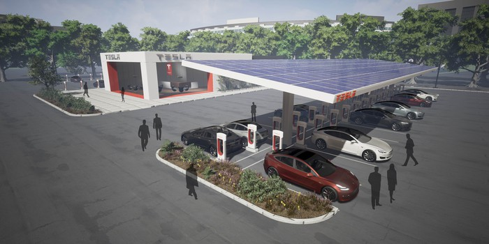 Rendering of Tesla's plan for large Superchargers with customer centers