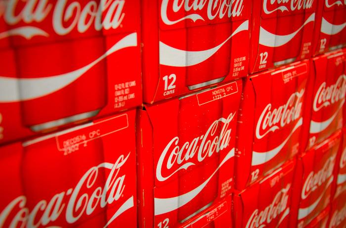 Coca Cola 12 packs on display.