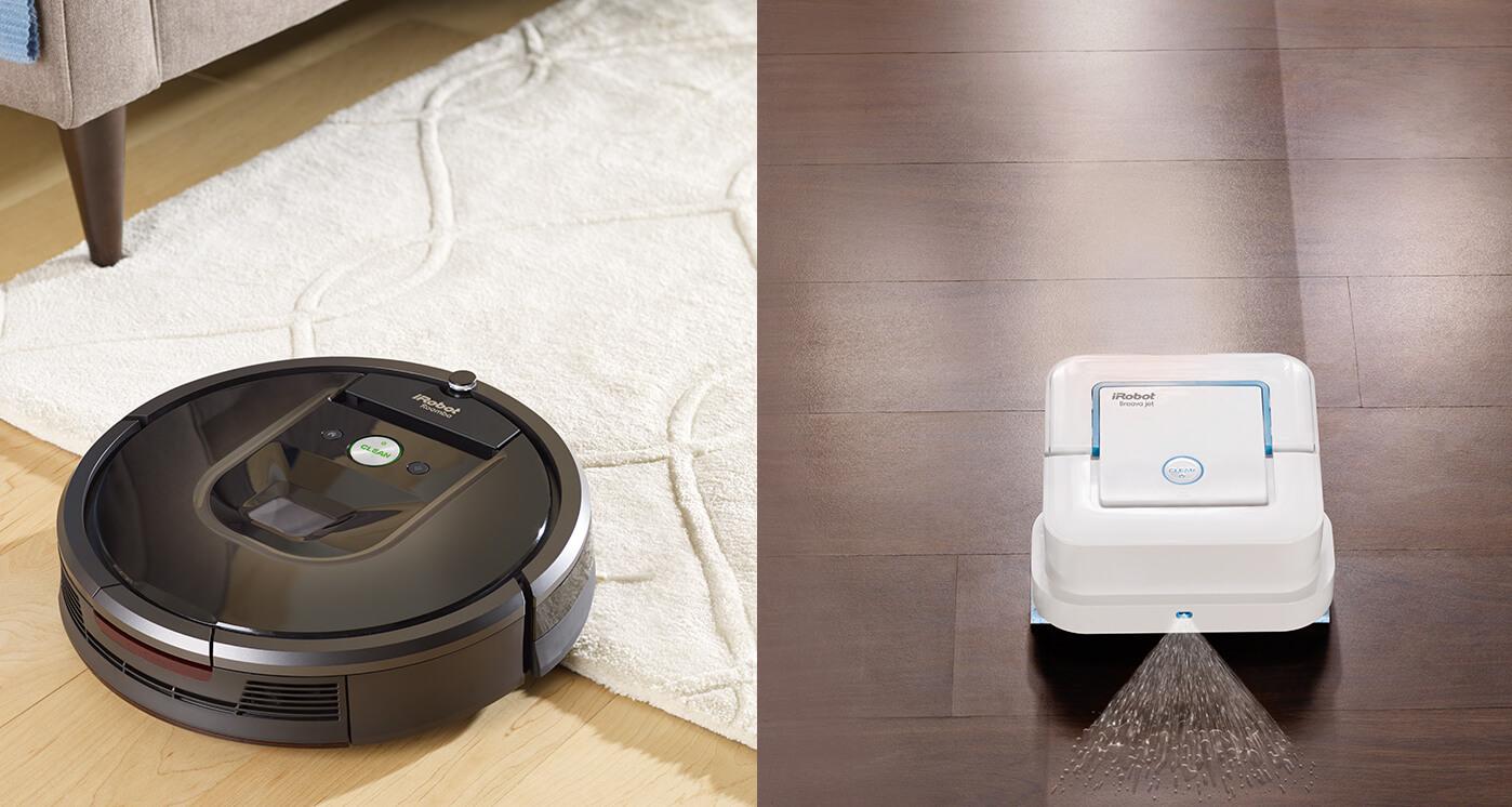 iRobot Roomba and Braava in operation.