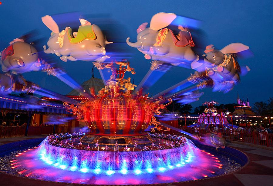 Dumbo ride at Magic Kingdom at night.