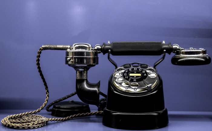 A old-time rotary phone