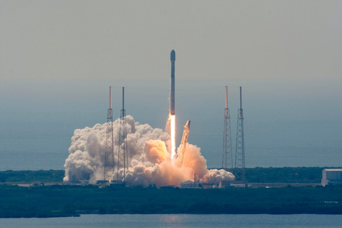 Falcon 9 rocket lifting off